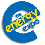 Energy Expo Logo consisting of a large, blue undercase e