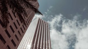 Image looking up to a skyscraper and sky in Miami