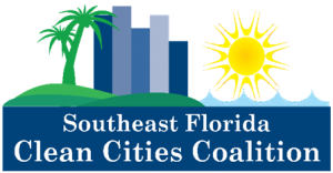 silhouette of palm trees, downtown city, and the sun over the ocean. Clean Cities logo