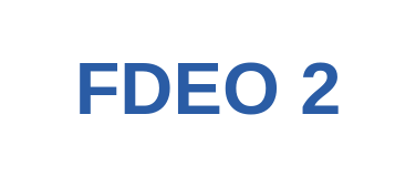 "Blue lettering of ""FDEO 2"""