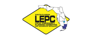 LEPC black letters with image of Florida over a yellow diamond background