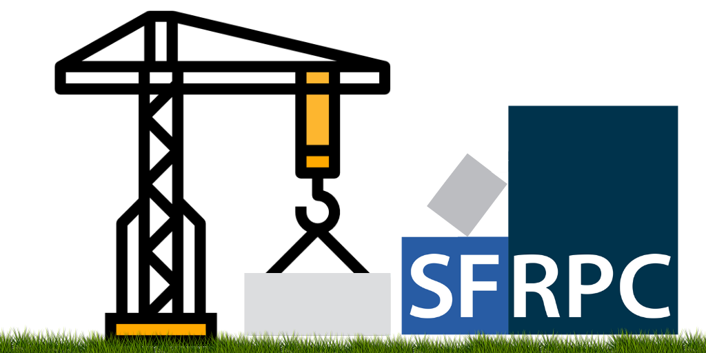 An image icon depiction of the SFRPC website being under construction. Blue blocks falling apart with a crane picking them up.