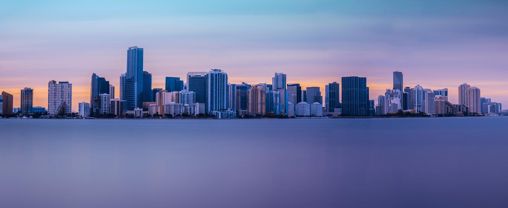 A cityscape photograph of the Miami Skyline