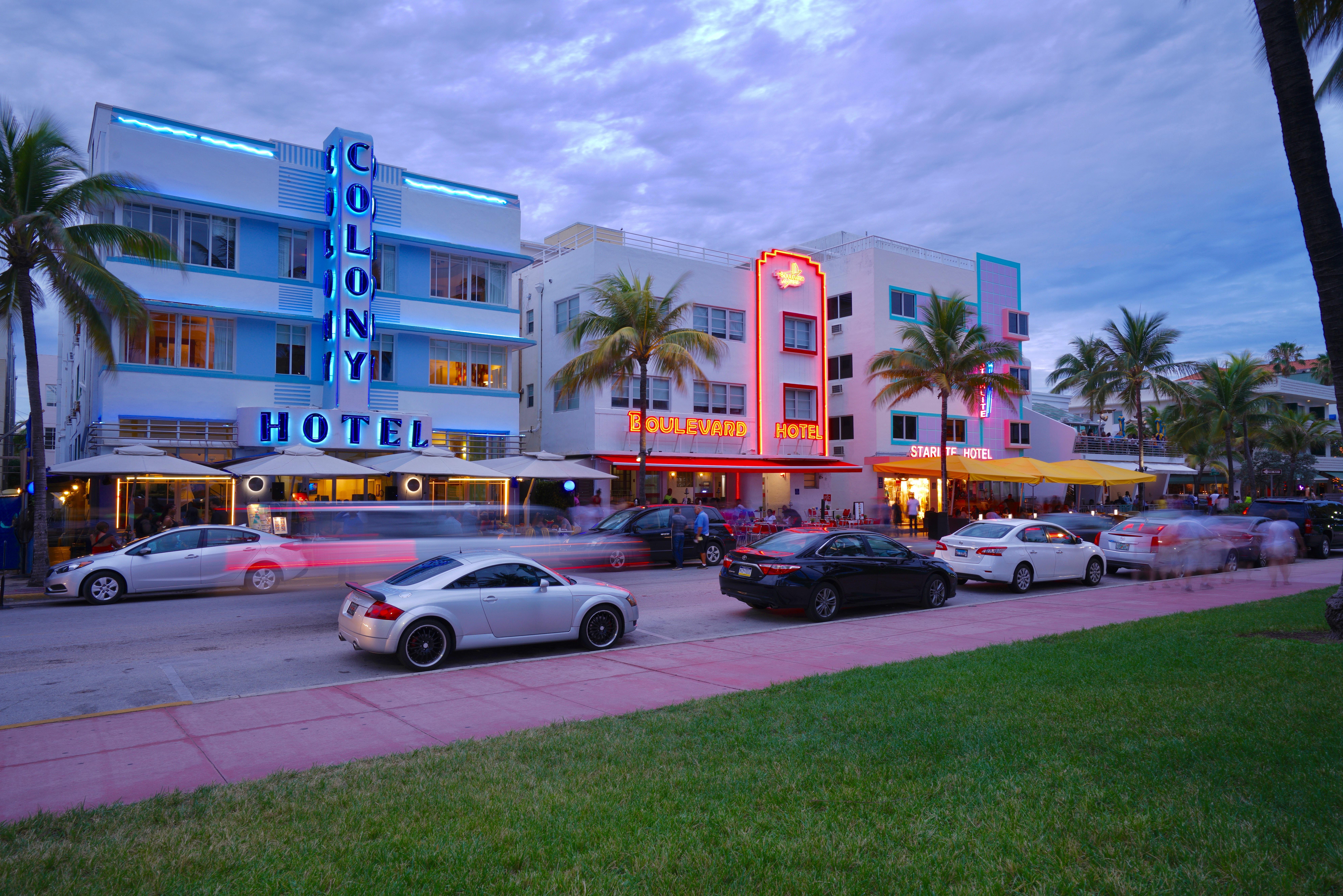 Picture of miami beach strip which includes the Colony Hotel