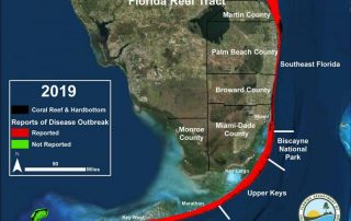 arial map of south Florida showing a red line outlining the Florida Reef Tract