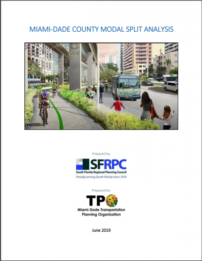 Miami-Dade County Modal Split Analysis Cover Page depicting a street with people on bikes and a passing bus