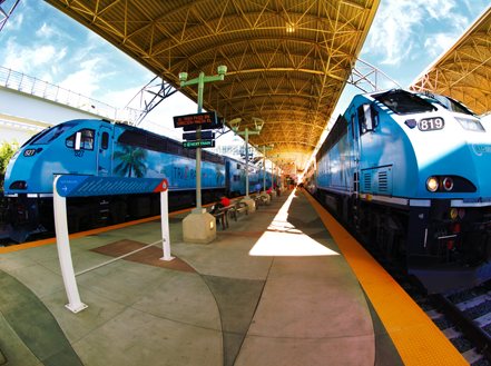 2 blue trains on a track at a station stop